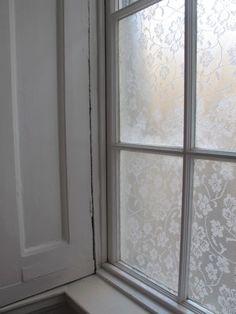 ♕ DIY lace window treatment using cornflower