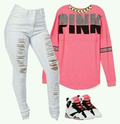 A fashion look from July 2015 featuring Victoria& Secret PINK sweatshirts and Club Manhattan necklaces. Browse and shop related looks. Cute Swag Outfits, Pink Outfits, Dope Outfits, Fall Outfits, Casual Winter Outfits, Dress Outfits, Vs Pink Outfit, Black Outfits, Dresses