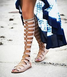 Brand Fashion Knee High Gladiator Summer Sandals - http://nklinks.com/product/brand-fashion-knee-high-gladiator-summer-sandals-women-motorcycle-boots-genuine-leather-ladies-flats-lace-up-party-shoes-woman/