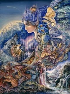 Once in a Blue Moon - Painting by Josephine Wall.  Chart design by Michele Sayetta for Heaven and Earth Designs.