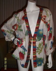 Chico's 100% Linen Blouse Jacket Women's size 3 Floral Multi Color (XL 14/18) #Chicos #BasicJacket