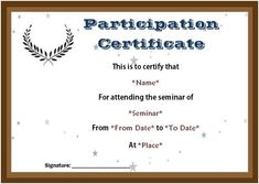 Certificate of participation in seminar template sample certificate of participation seminar templates yelopaper Image collections