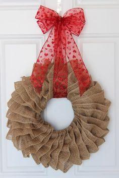 Valentine's Day wreath, burlap wreath, burlap ruffle wreath, Valentine's wreath, door wreath, burlap decor, handmade,