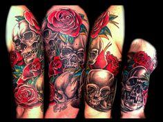 Temporary Tattoo Sleeve, Tattoo Sleeve, Skull Roses, Body Art, Arm Sleeve, Tattoos for Women,Designs Ideas Ink Fake Floral Flower Tatoo Punk