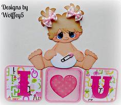 ELITE4U GIRL BABY paper piecing premade scrapbook page album title  WOLFFEY5