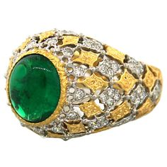 1stdibs - BUCCELLATI Emerald Cabochon Diamond & Gold Ring explore items from 1,700  global dealers at 1stdibs.com