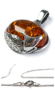 Henryka Cognac Amber & Silver Fox Necklace #ad #Etsy #fox