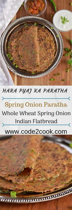 Hara pyaz ka paratha or spring onion paratha is another Indian flatbread recipe where vegetables and spices kneaded along with the whole wheat flour. Onion Recipes, Indian Food Recipes, Vegetarian Recipes, Paratha Recipes, Flatbread Recipes, Fun Easy Recipes, New Recipes, Tiffin Recipe