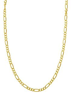 "14K Gold Plated Sterling Silver 1.7mm 4 Gauge Men's Italian Figaro Bracelet Chain or Necklace 7 - 36"" in *** Additional details @ http://www.amazon.com/gp/product/B00W653YVE/?tag=splendidjewelry07-20&pmn=240716180025"