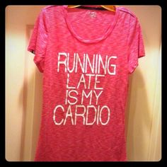 Running Late is My Cardio Tee NWOT! Raspberry/White with White Felt Letters on the Front. Scoop Neck. Short Sleeves. 50% Polyester/50% Rayon. Brand New. Excellent Condition. No Trades. Available in Medium & Large. One per size. EVCR Tops Tees - Short Sleeve