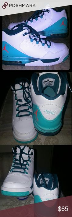 JORDAN FLIGHT ORIGIN 2 CAN SHIP TODAY  JordanFlightOrigin two #₩705160-127  Size Big Boy 7 so 8 or 8.5 US womens  This are only whorn once they are white/infrared 23 retro teal they have no stains no creases and have box without the top though but this are like  new great deal Jordan Shoes Sneakers