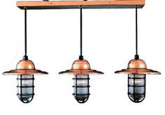 "10"" Takeover Chandelier, 44-Polished Copper, Black Cast Guard, Ribbed Glass"