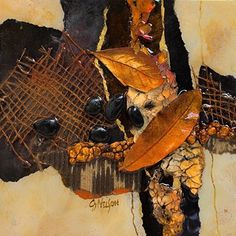 """Carol Nelson / Copper Leaves, 042715 / mixed media on panel, 8x8x1.0"""""""