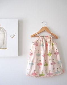 Ballerina Baby Dresspink cotton with pastel by ChasingMini on Etsy, $38.00
