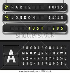 Vector illustration of realistic airport timetable and scoreboard alphabet - stock vector