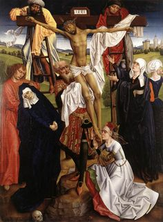 "Unknown Flemish Master ""The Deposition "" 1470s. Interesting sidelacing dress, obvious waist line. Man's belt purse."