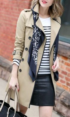 Trench Coat Outfit For Spring - FashionActivation Ways To Wear A Scarf, How To Wear Scarves, Work Fashion, Trendy Fashion, Petite Fashion, Affordable Fashion, Curvy Fashion, Fashion Fashion, Fashion Trends