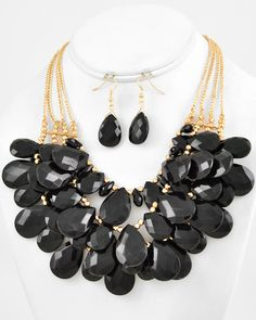 Gold Tone / Black Acrylic / Lead Compliant / Charm / Multi Row / Necklace & Fish Hook Earring Set