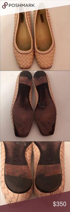 Bottega Veneta Leather Woven Square Ballet Flats Bottega Veneta Beige Cream Tan Leather Woven Square Ballet Flats with Black Stitching Bottega Veneta Shoes Flats & Loafers