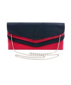 Red and Black Layered Evening Bag From Ms Full Figured Red Clutch Purse, Black Clutch, Leather Clutch, Leather Purses, Crochet Clutch Bags, Purse Styles, Cute Purses, Womens Purses, Handbags On Sale