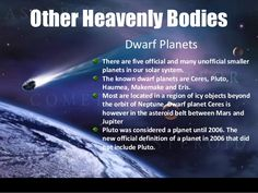 Other Heavenly Bodies Dwarf Planets There are five official and many unofficial…