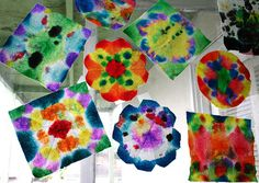 Tie-dye window art uses paper towels and cheap watercolors (Hello Dollar Tree--here I come again).  Also could try coffee filters?