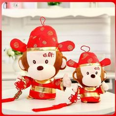 Lucky Monkey Plush. Chinese New Year decoration and gifts.