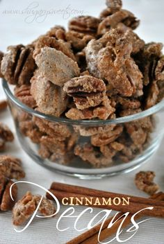 Candied Cinnamon Pecans- crunchy sugar and cinnamon coated pecans, addictive and delicious #candiednuts www.shugarysweets.com Nut Recipes, Candy Recipes, Snack Recipes, Dessert Recipes, Cooking Recipes, Appetizer Dips, Appetizer Recipes, Sandwiches, Just Desserts