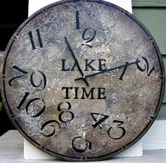 18 Inch LAKE TIME CLOCK in Bold Earthy Shades Highlighted with Jumbled Numbers / ClocksByHomestead on Easy $39.  LakeTime, Lake O'Clock, or (Family Name) Time/O'Clock.