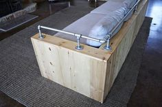 How to build a wood storage sofa with drawers using crib mattress cushions. Diy Storage Couch, Diy Couch, Wood Storage, Furniture Makeover, Diy Furniture, Pipe Railing, Built In Couch, Bar Shed, Wood Cladding