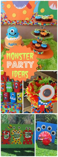 What a colorful little monster first birthday party! See more party ideas at…