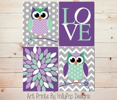 Baby Girl Nursery Decor-Nursery Wall Art-Cute Whimisical Woodland Owl Nursery-Childrens Art Prints-Purple Mint Green Modern Girls Room-#0666