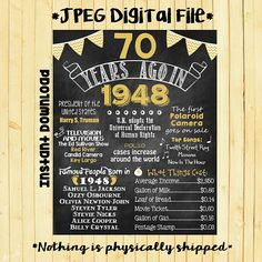 Gold 70th Birthday Chalkboard 1948 Poster 70 Years Ago in 1948 Born in 1948 70th Birthday Gift INSTANT DOWNLOAD