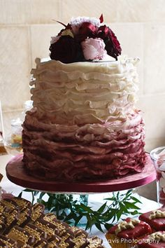 Ombre Ruffle Burgundy Wedding Cake, so pretty, better in blue or coral