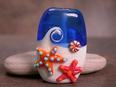 Lampwork Glass Beach Focal Bead Waves with by DivineSparkDesigns, $35.00