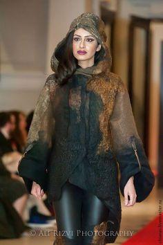 Парка ручной работы - дизайнероское пальто,шерстяное пальто валяное,парка с капюшоном