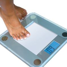"""This Digital Bathroom Scale is the ideal way to track your weight loss quickly and easily. Simply step on, and in seconds you'll have an accurate readout to the nearest .2 pounds on the EatSmart's oversized 3.5"""" Accubright LCD display.  #BodyWeightScale"""