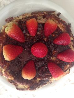 Healthy pancake! banana + egg + oat + whey protein!!! To decorate: strawberry and sugar free jam :)