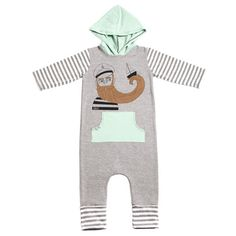 Rags to Raches 3/4 Sleeve Hooded Romper - 'The Captain' / Black & Brown