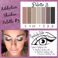 Palette #3 with Eyeshadow Order Guide! Take it from serene to extreme with seven crease-resistant, fade-resistant, long-wearing, buildable colors! Now available in 5 amazing color palettes! #Addiction12345 #ClickImageToShop #Questions #EmailMe sarahandbrianyounique@gmail.com or comment below