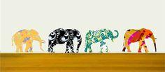 Elephant Wall Decals Set for Nursery Decor Elephant Stickers Yellow Elephant decal Black elephant decal Green elephant decal zoo animal