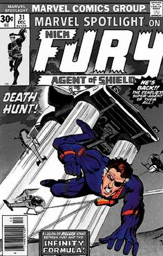 Marvel Spotlight #31 in which Howard Chaykin penned the story of the Infinity Formula, the drug Nick Fury took for several decades to keep him young (colorized).