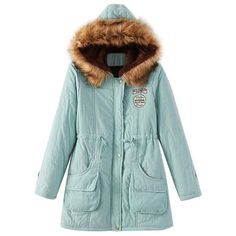 f7186a798bc19 Faux Fur-Lined Hooded Winter Jacket Coat Button Zipper. Valerian Boutique