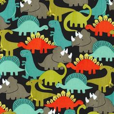 Dinosaur Fabric for Children - Dino Mites by Michael Miller: By Michael Miller Brightly coloured dinosaurs - green, blue, orange and brown on a black cotton background. Retro Fabric, Modern Fabric, Dinosaur Fabric, Largest Dinosaur, Miller Homes, Animal Quilts, Circular Pattern, Wet Bag, Michael Miller