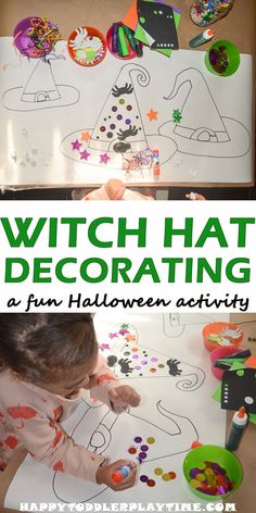 Witch Hat Decorating - HAPPY TODDLER PLAYTIME Here is fun, engaging and easy to set up Halloween activity your little one will enjoy! Decorate a witch's hat! Halloween Tags, Diy Halloween Party, Halloween Week, Halloween Crafts For Kids, Halloween Themes, Halloween Theme Preschool, Halloween Decorations, Halloween Prop, Halloween Witches