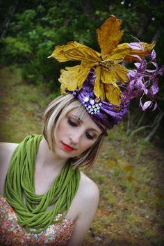 Foil hat, Corded, Headdress,Derby, Statement headpiece,purple, gold,OOAK, Crazy hat