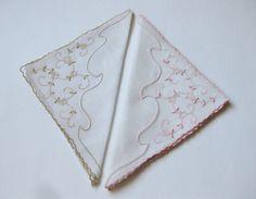 Pair of Vintage MARGHAB Linen Handkerchief VINE FLOWER Madeira Hand Embroidered | eBay