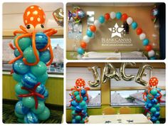 Under the Sea Balloon Decorations (Octopus Balloon Column) by Blank Canvas Event Decorating Melbourne Florida USA www.blankcanvascreations.com