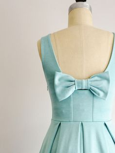 january dress - apricity - seafoam aqua mint bow back bridesmaid dress with pockets and pleated skirt