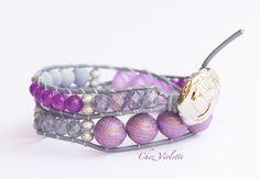 Purple two Wrap Bracelet Leather Boho Bead by chezviolette on Etsy